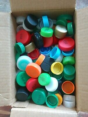 Lot 300+ Plastic Bottle Caps Recycled Crafting Mixed Repurpose Lids Tops