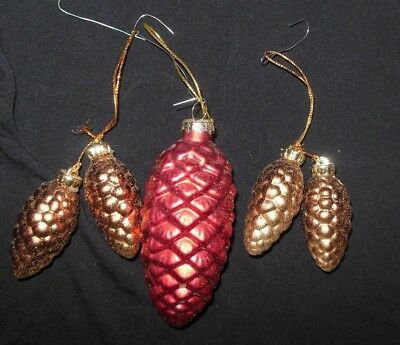 """Lot of 5 pine cone glass Christmas ornaments pine cones Red and Brown 2"""" & 4"""""""