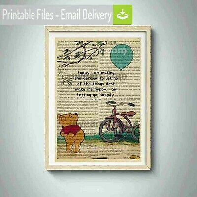 winnie the pooh print,quotes,dictionary,page,book,piglet,adventures,poster,decor