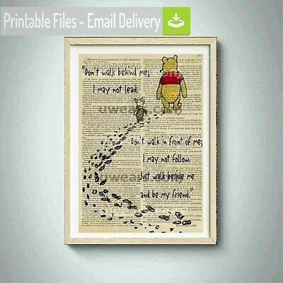 winnie the pooh print,adventure quotes,piglet,best friends,poster,sticker,canvas