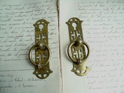 French 2 antique brass key hole cover plates cabinet pull decoration projects
