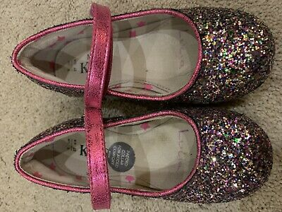 Girls M&S Marks Spencer Sparkly Party Shoes Purple Pumps Uk 9