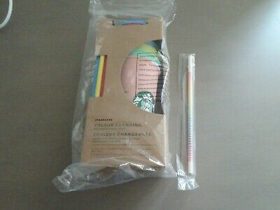 Starbucks Color Changing Reusable Cold Cup Tumbler Pack of 5 w/ Lids Straws 24oz