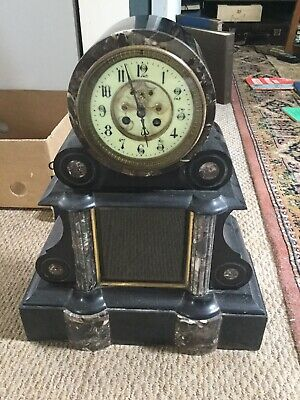 Slate and Marble Mantle Clock in Need of Restoration. Spares/Repairs. Victorian