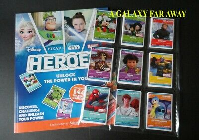 Sainsburys Disney Heroes Trading Cards Complete 144 Card Set & Empty Album Book
