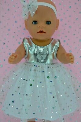 "Play n Wear Dolls Clothes To Fit 17"" Baby Born SILVER SEQUIN DRESS~HEADBAND"