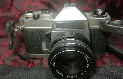 CHINON CX & 55mm f 1.7 Working Meter & CASE Fresh Battery