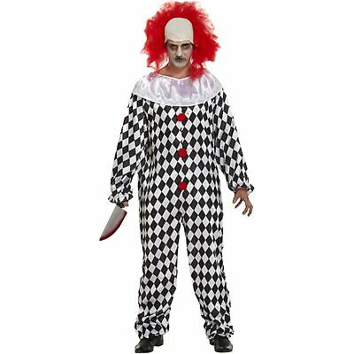 Men's Scary Clown Costume Adult Horror Fancy Party Dress Scary Halloween Outfit