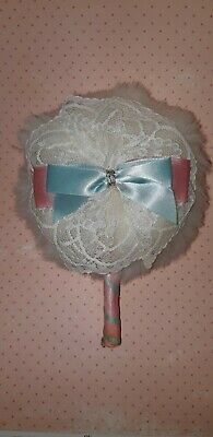 Vintage 1980  Shabby Chic Large Lace Satin Ribbon Powder Puff