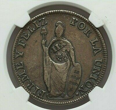 (1837) Philippines Isabel Ii Silver 8 Reales Countermark Peru 8 Reales Ngc Vf-30