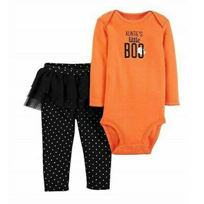 BABY GIRLS NEW NWT SIZE NEWBORN NB CARTERS HALLOWEEN OUTFIT SET AUNTIE/'S BOO INF