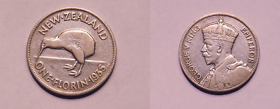 1935 New Zealand 1 Florin Silver Coin Fine GEORGE V KM#4 (HF118.8)