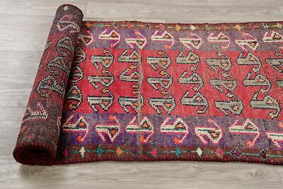 Antique Oriental Geometric Oushak Runner Rug Wool Red Paisley Hand-Knotted 3'x9'