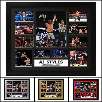 AJ Styles Signed Framed Limited Edition Memorabilia - Multiple Variations