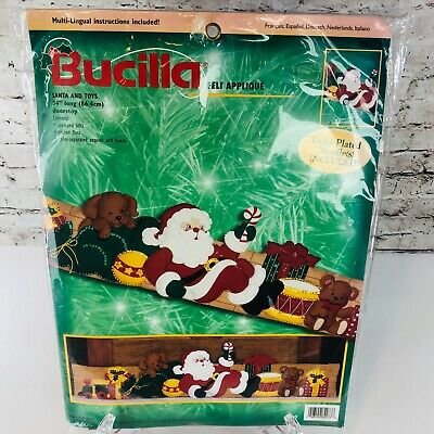 "Bucilla Santa and Toys Christmas Felt Applique Doorstop 34"" Long Kit 84273 (K1)"
