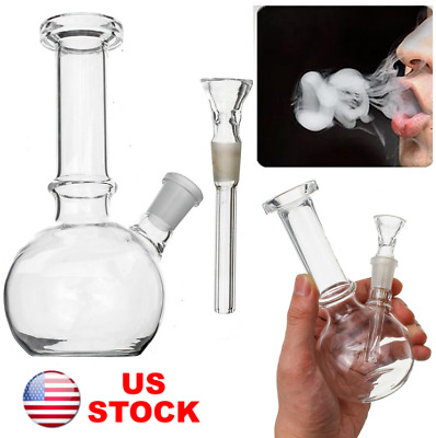 "6"" Glass Bong Hookah Water Pipe Bottle Clear Shisha Smoking Herb Tobacco"