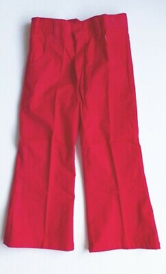 Boys Red Flared Trousers Size 24 Vintage Cuckoo  Brushed Cotton