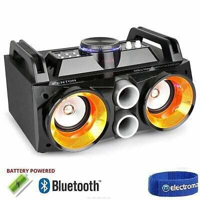 Battery Powered Portable Stereo Ghetto Speaker with Bluetooth USB & Light 100w
