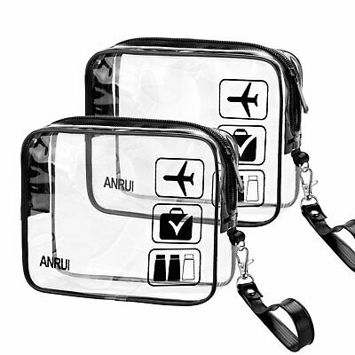 2 X Travel Toiletry Bags Toiletries Bag Clear See Through Carry Aeroplane Flight