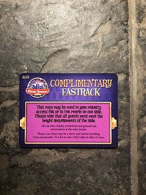 (1x) Genuine 2019 Alton Towers Priority Pass (Fast Track)