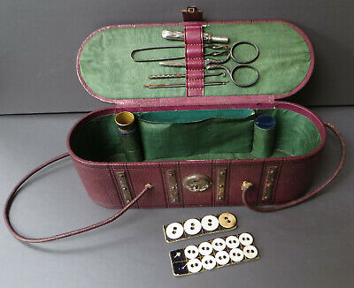 Small Leather Effect Travel Sewing Case / Miniature Trunk With Accessories - A/F