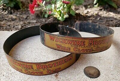 Antique Vintage Wickwire Brothers Bicycle Wire Cloth Clip Set Advertising
