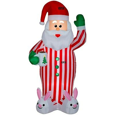Christmas 7' Gemmy Lighted Santa w/ Cocoa in PJ's Airblown Inflatable Yard Decor