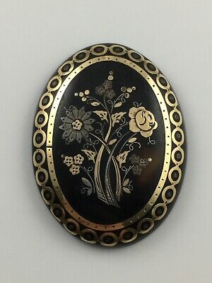 Antique Victorian Pique Faux Tortoise Shell Gold Inlaid Panel