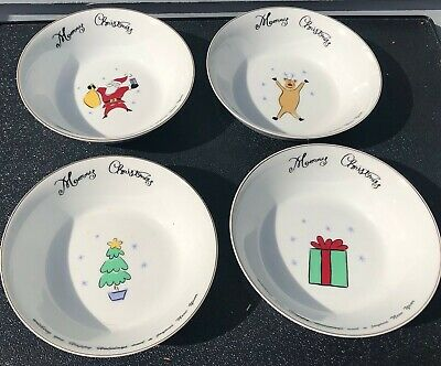 Merry Brite Christmas Bowl Soup Cereal Set of 4