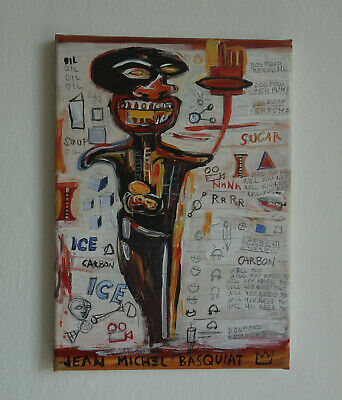 WOW Unique painting, Expressive art, signed, Jean Michel Basquiat, COA & DOCS.