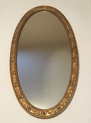 """Large Vintage Oval Hollywood Regency Gold Gilt Wall Mirror 37x19"""""""
