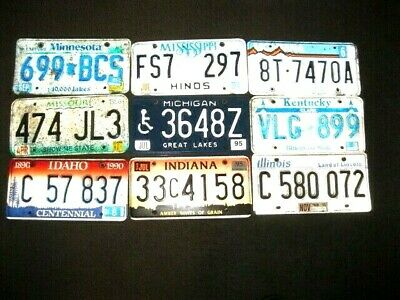 9 Lot Different License Plates Old No Dupes 9 States All Good Or Better Al & Ste