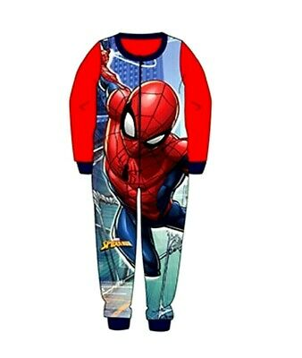 Boys Spiderman Pyjamas Boys Spiderman All In One Sleepwear Fleece Age 2-8 Ys