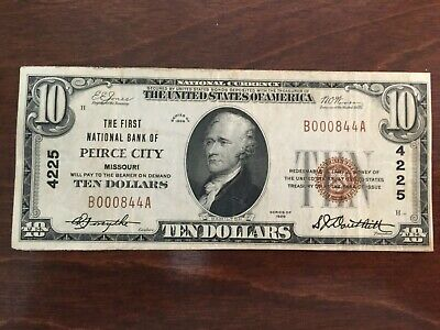 1929 $10 National Currency- The First National Bank of Peirce City, MO (LOW NUM)