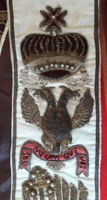PERU spectacular republican antique masonic master sash; crown flags triangle