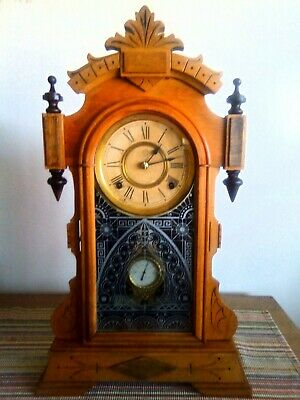 1882 Ansonia Kitchen/Mantel Clock. Rare Glass Pendulum.Oak Case. Beautiful!!!