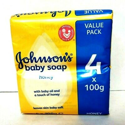 NEW Johnsons Baby Soap Honey With Baby Oil 4x100g 4 Bars Sealed