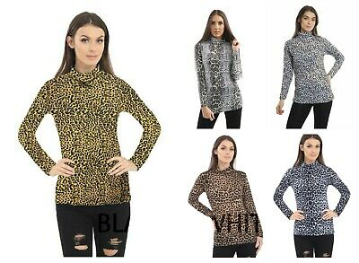 Women Long Sleeve Leopard Print Turtle Polo Roll Neck Ladies Stretch Jumper Top