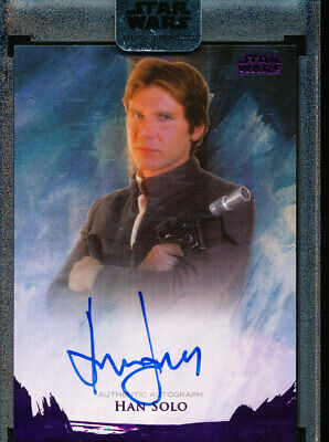 2018 Star Wars Stellar Signatures Han Solo Harrison Ford Auto /10 Purple Foil