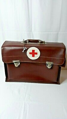 Vintage Genuine Brown Leather First Aid Doctors Medical Red Corss Bag