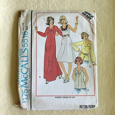 "McCall's #5518 vintage sewing pattern dress top 1970s size large bust 40""-42"""