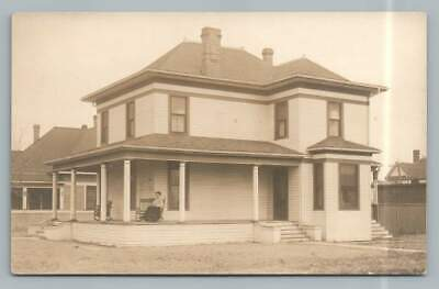 Beautiful Craftsman Home RPPC Antique Wooden Architecture~Rocking Chair Porch
