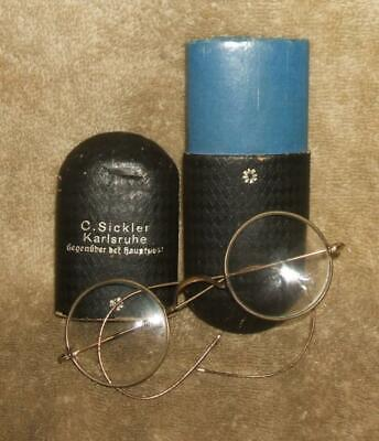 Early 1900's German Child's Wire Rim Glasses with Original Case