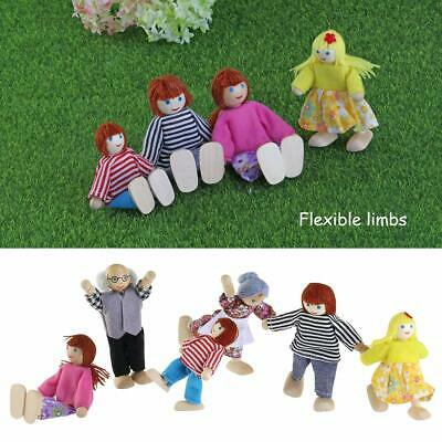 Wooden Familary Dolls 7 People -Set Furniture House Miniature Doll Toys For Kids