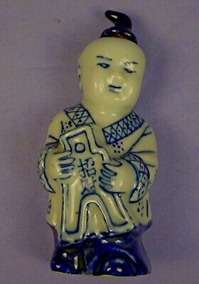 CHINESE BLUE & WHITE PORCELAIN FIGURAL FORM SNUFF BOTTLE with DAOGUANG MARK