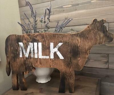 LARGE HANDMADE Dairy Milk COW OLD WOOD Wall SIGN Primitive Farmhouse