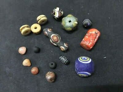 Rare ancient Phoenician glass bead group Agate Roman Carnelian Engrave Wood #N4