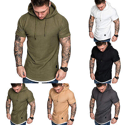 Gym Men Sleeveless Vests Pullover Hoodie Hooded Tank Tops Muscle Clothes T Shirt