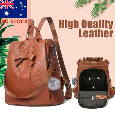 Women's Anti-theft PU Leather Backpack Travel School Bag Rucksack Shoulder