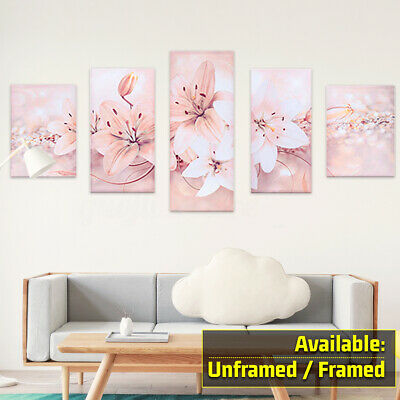 5Pcs Abstract Flower Canvas Print Art Painting Wall Picture Modern Home  G
